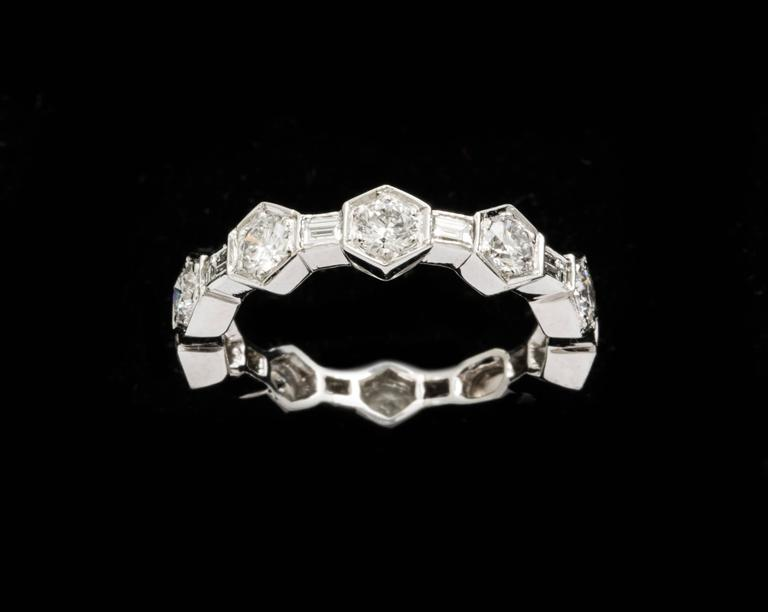 Diamond platinum 950 band made in new york for sale at 1stdibs for What is platinum jewelry made of