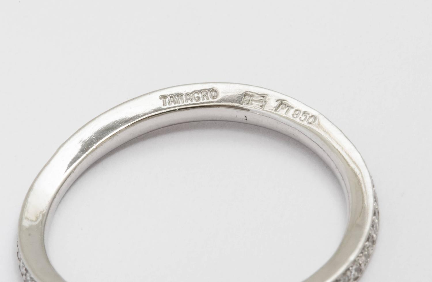 Tanagro jewelry wave platinum 950 and diamonds band made for What is platinum jewelry made of