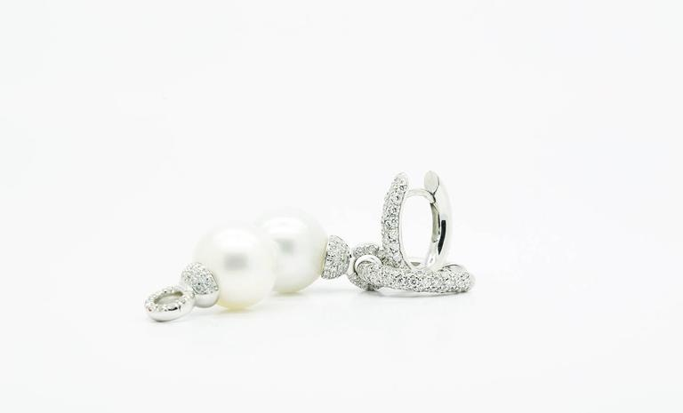 Ferrucci Italy White Pearls and Diamonds gold Earrings 2