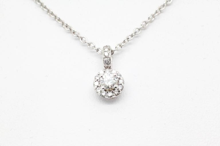 Ferrucci 0.26 carat Diamonds Halo 18k white gold Necklace In New Condition For Sale In Lake Peekskill, NY