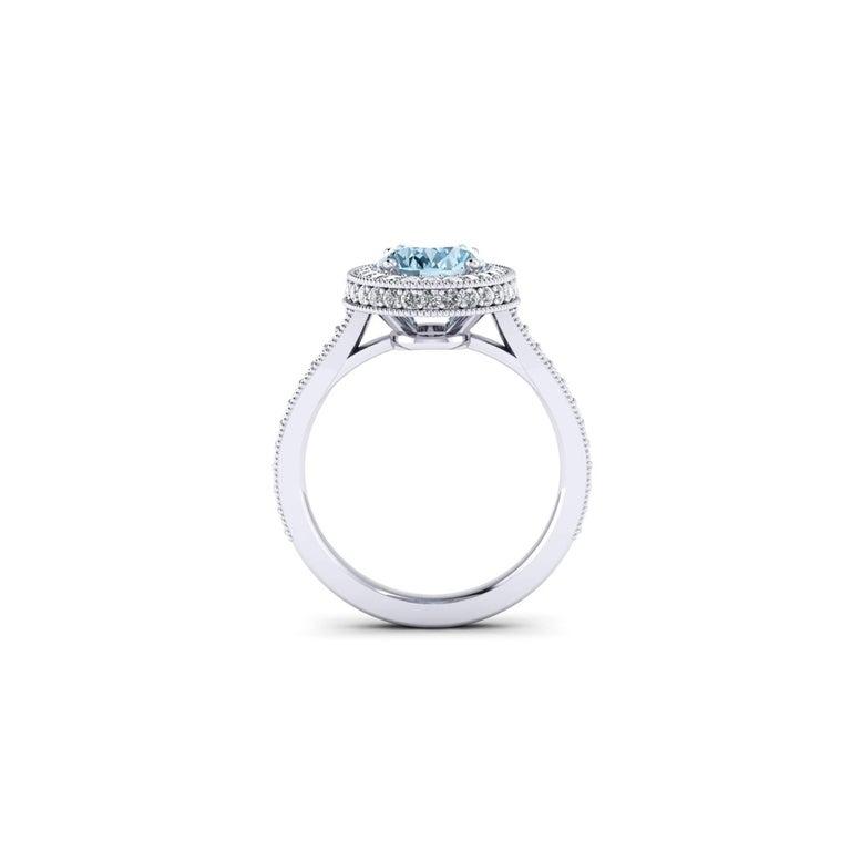 Art Deco 1.40 carat Natural Aquamarine White Diamonds 18k white Gold Ring For Sale