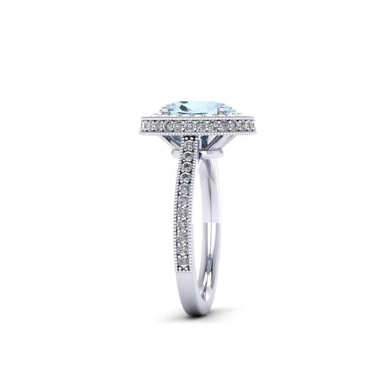 Oval Cut 1.40 carat Natural Aquamarine White Diamonds 18k white Gold Ring For Sale