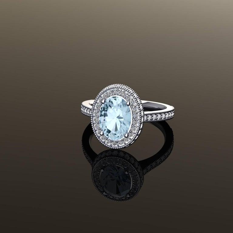 Women's 1.40 carat Natural Aquamarine White Diamonds 18k white Gold Ring For Sale