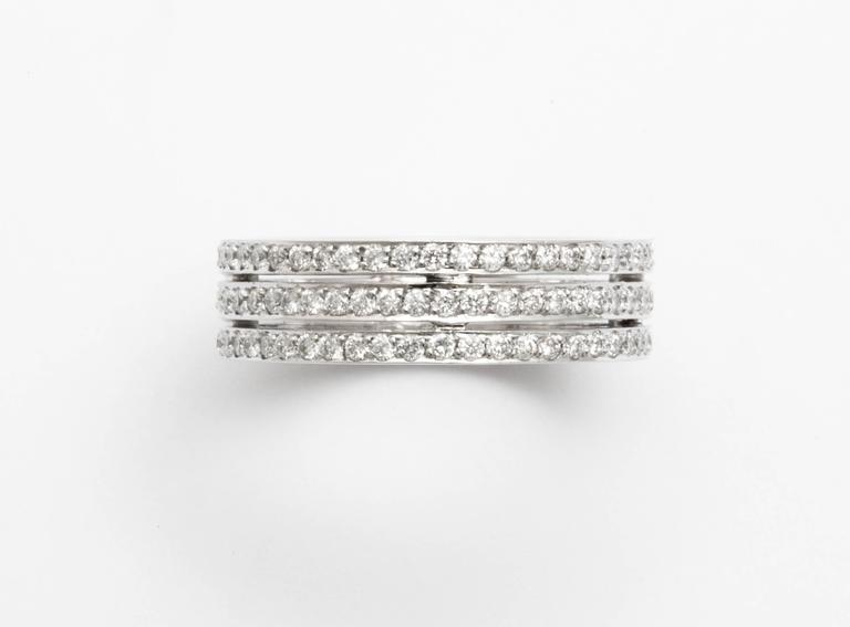 Tanagro 1.00 Carat Diamonds Eternity Triple Platinum Band Ring In New Condition For Sale In New York, NY