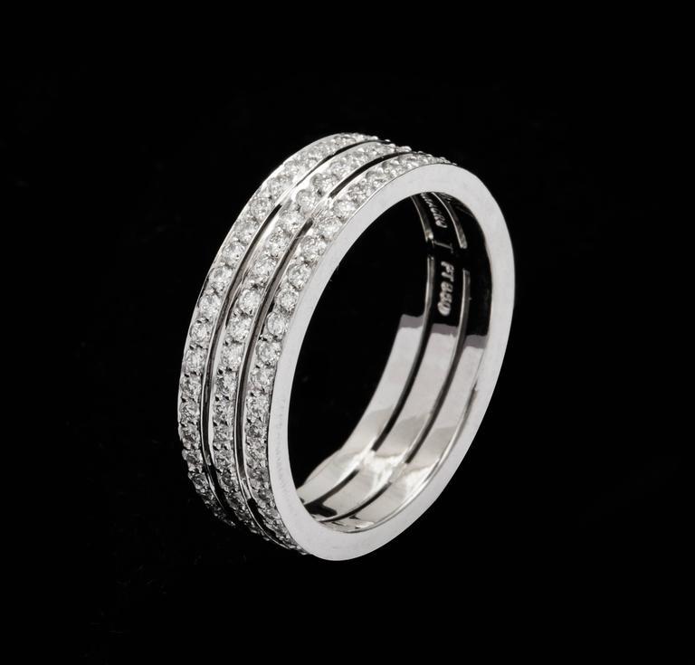 Tanagro 1.00 Carat Diamonds Eternity Triple Platinum Band Ring For Sale 1