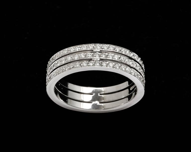 Tanagro 1.00 Carat Diamonds Eternity Triple Platinum Band Ring For Sale 2