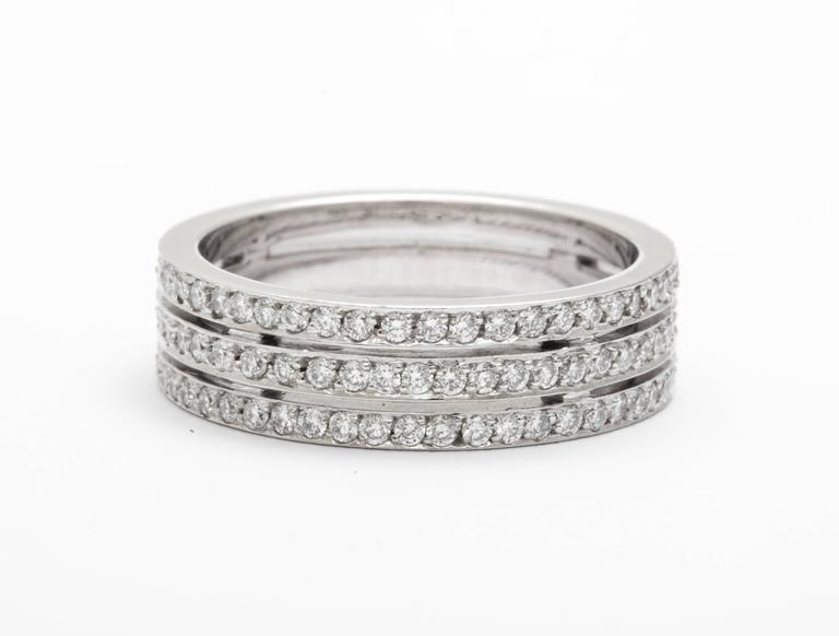 Tanagro 1.00 Carat Diamonds Eternity Triple Platinum Band Ring For Sale 3