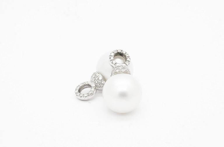 Ferrucci Italy White Pearls and Diamonds gold Earrings 4