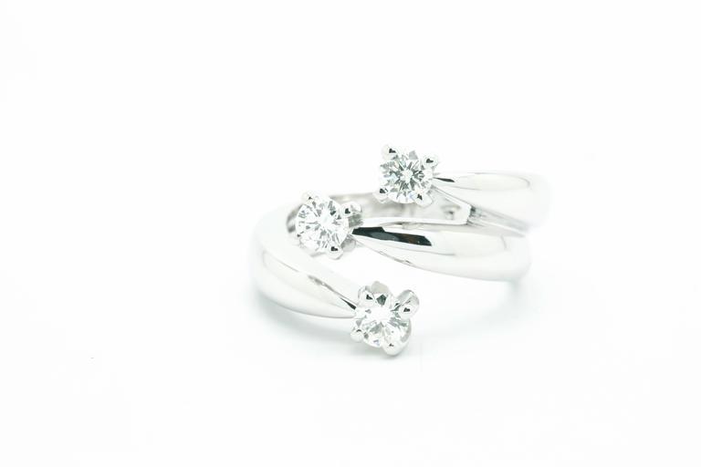 6f5e03184adb8e Modern 0.66 Carat Three Diamond Ring in 18 Karat White Gold Made in Italy  For Sale
