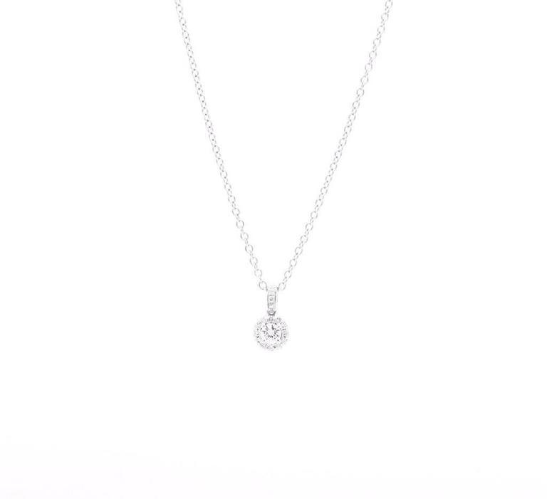 Women's Ferrucci 0.26 carat Diamonds Halo 18k white gold Necklace For Sale