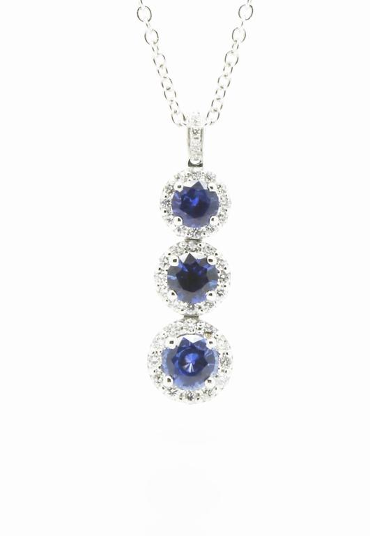 FERRUCCI blue sapphire necklace pendant for a total of 1.24 carats, and white diamonds for 0.40 carats, hand made in 18k white gold, 16 inches chain