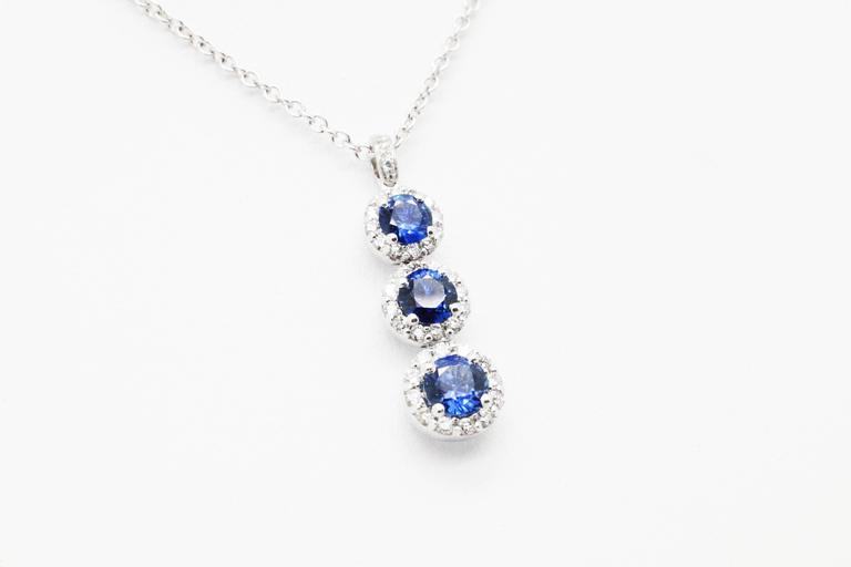 1.24 carat Sapphire and0.40 carat white diamonds 18k white Gold Triple Pendant In New Condition For Sale In Lake Peekskill, NY