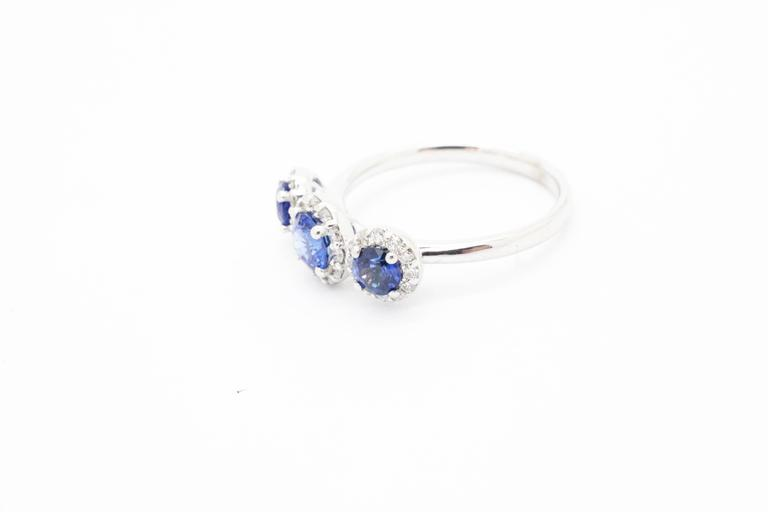 1.26ct Blue Sapphire 0.36ct white Diamond 18k white Gold Ring In New Condition For Sale In Lake Peekskill, NY