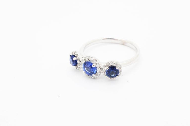 Women's 1.26ct Blue Sapphire 0.36ct white Diamond 18k white Gold Ring For Sale