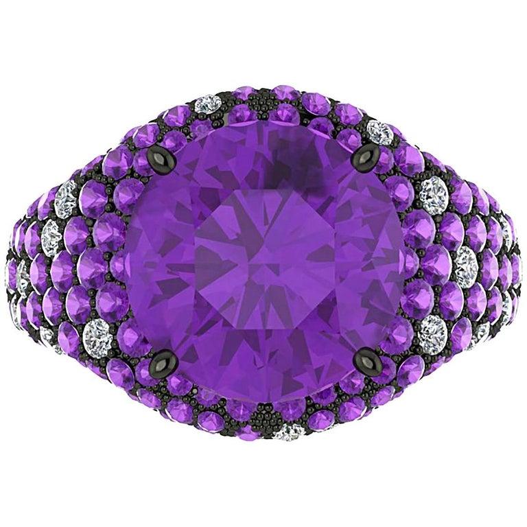Ferrucci Amethyst Diamond Black Gold Ring