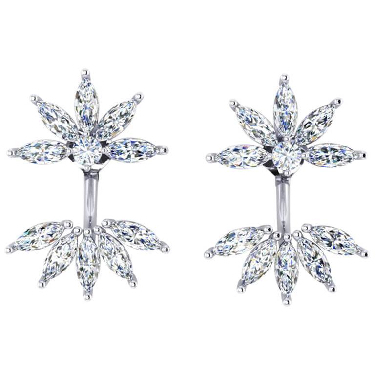 Ferrucci 2.60 Carat Marquise Diamonds in Platinum 950 Original Flower Earrings