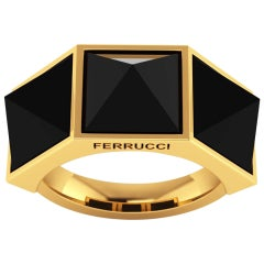 Ferrucci Black Onyx Pyramids 18 Karat Yellow Gold Ring