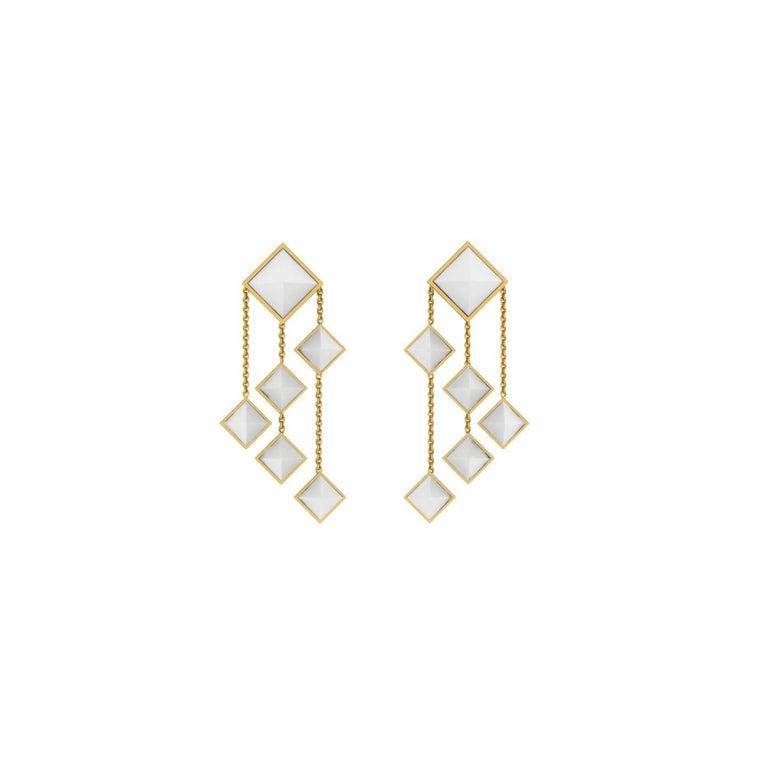 Ferrucci White Agate Pyramids Dangling 18 Karat Yellow Gold Chandelier Earrings