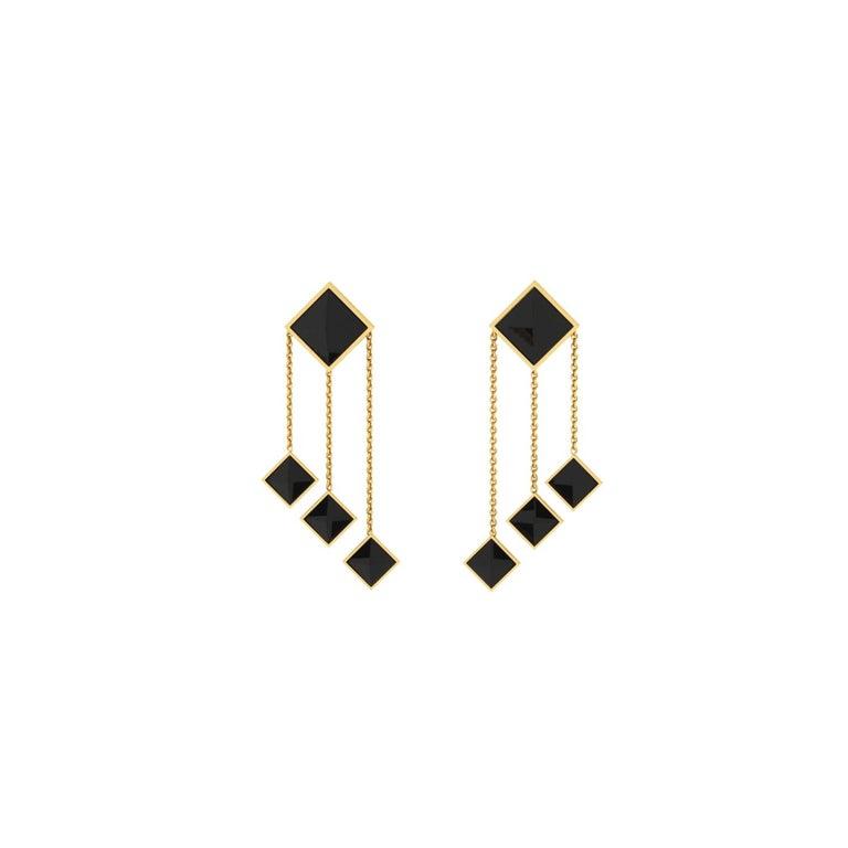 Ferrucci Black Onyx Pyramids Dangling 18 Karat Yellow Gold Chandelier Earrings
