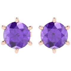 Ferrucci 2 Carat Amethyst Ear-Studs in 18 Karat Rose Gold, Handmade in New York