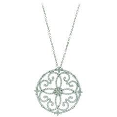 Ferrucci 2.80 Carat White Diamonds Necklace Handmade in 18 Karat White Gold