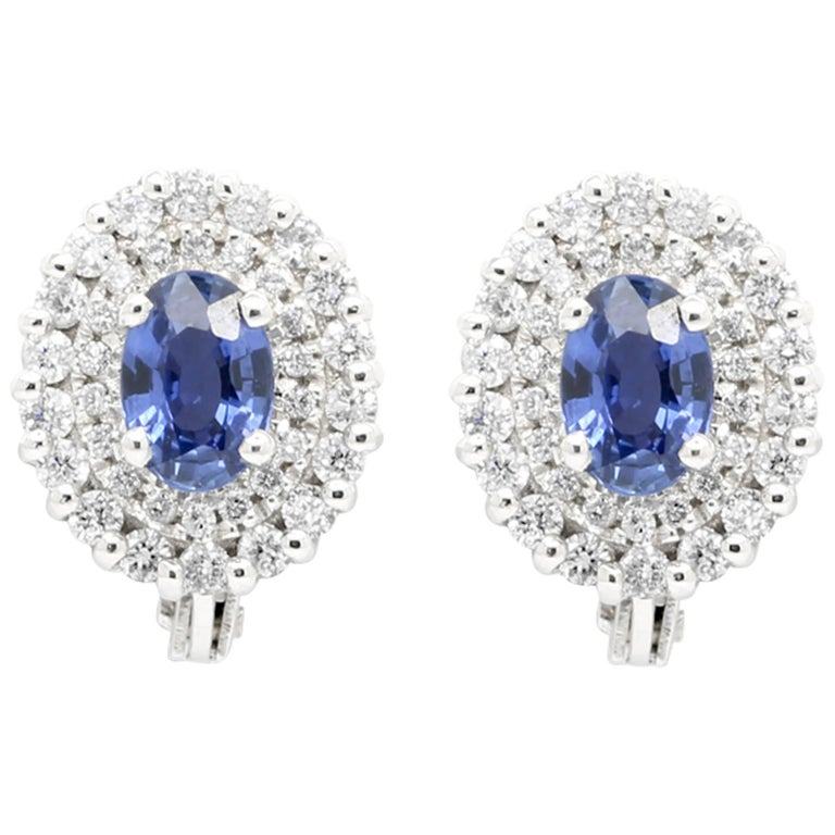 Ferrucci 1.1 Carat Blue Sapphires and 0.46 Carat Diamonds 18 White Gold Studs