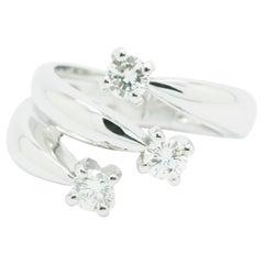 Ferrucci 0.66 Carat Three Diamond Ring in 18 Karat White Gold Made in Italy