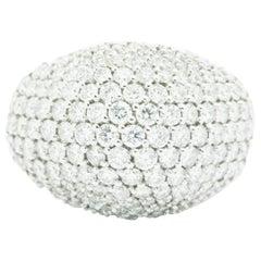 Ferrucci 3.70 Carat Diamond Dome Pave' 18 Karat White Ring