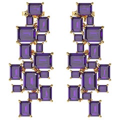 Ferrucci Natural Purple Amethyst Chandelier Earrings in 18 Karat Yellow Gold