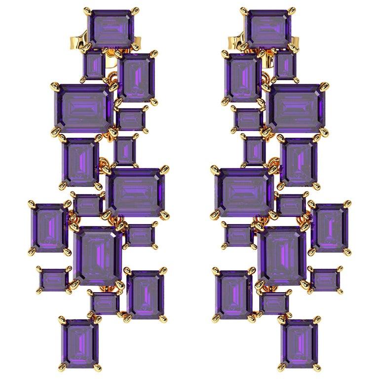 Ferrucci Natural Purple Amethyst Chandelier Earrings in 18 Karat Yellow Gold For Sale