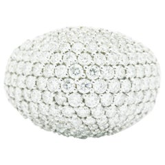 Ferrucci 3.70 Carat Diamond Dome Pave' 18 Karat White Ring Made in Italy