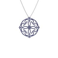 Ferrucci 3 Carat Blue Sapphires Necklace Handmade in 18 Karat White Gold