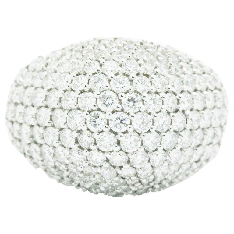 Ferrucci 3.70 Carat Diamond Dome Pave 18 Karat White Ring For Sale