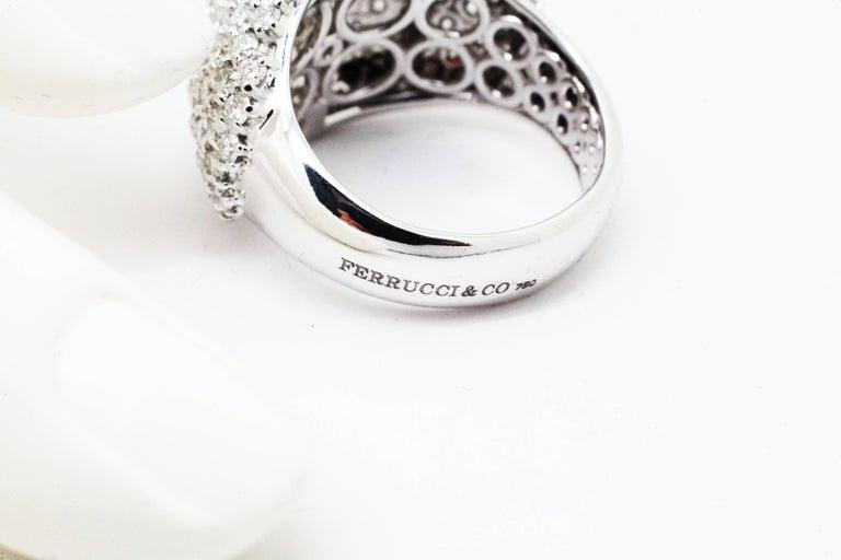 Art Nouveau Ferrucci 3.70 Carat Diamond Dome Pave 18 Karat White Ring For Sale