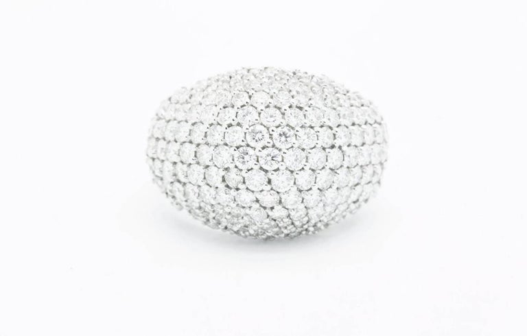 Ferrucci 3.70 Carat Diamond Dome Pave 18 Karat White Ring In New Condition For Sale In New York, NY