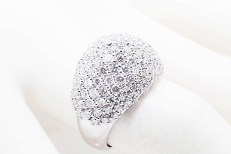 Women's Ferrucci 3.70 Carat Diamond Dome Pave 18 Karat White Ring For Sale