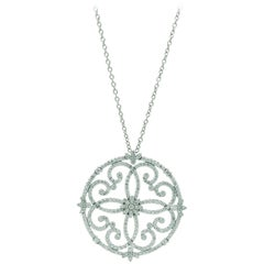 2.80 Carat White Diamonds Necklace Handmade in 18 Karat White Gold