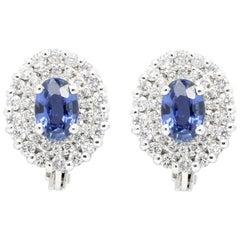 1.10 Carat Blue Sapphires and 0.46 Carat Diamonds 18 White Gold Studs