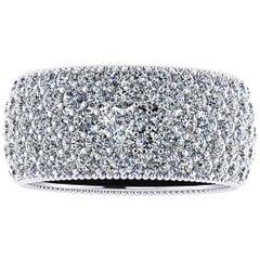 4.70 Carat Wide White Diamond Pavé Ring in 18 Karat White Gold