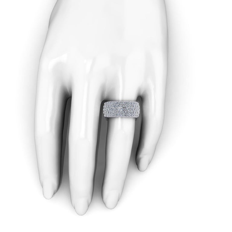 Round Cut Ferrucci 4.70 Carat Wide White Diamond Pavé Ring in 18 Karat White Gold For Sale