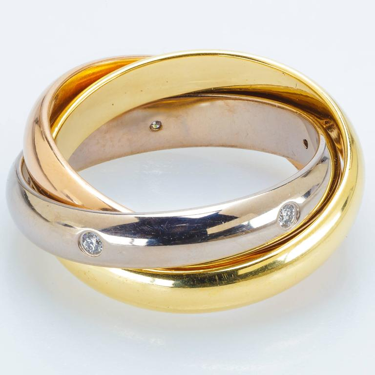 cartier de cartier three color gold ring