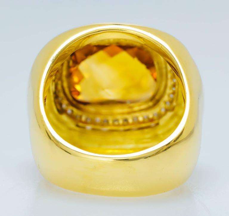 David Yurman Citrine Diamond Gold Ring 6