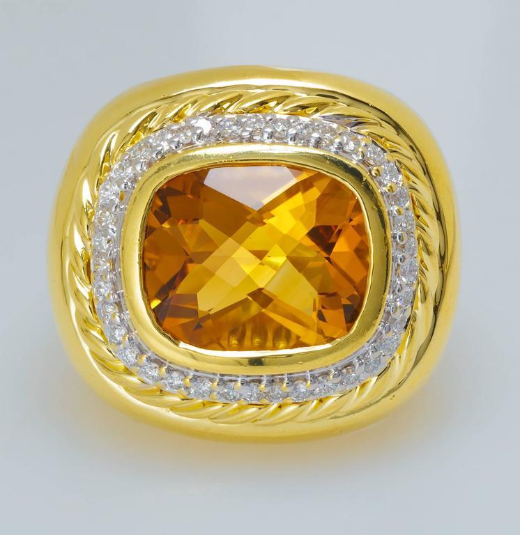 David Yurman Citrine Diamond Gold Ring 4
