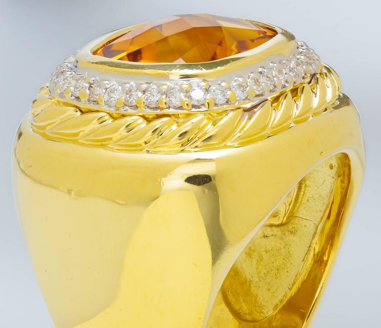 David Yurman Citrine Diamond Gold Ring 3