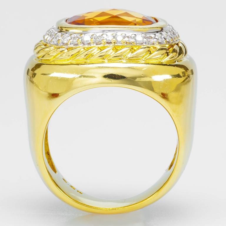 David Yurman Citrine Diamond Gold Ring 2