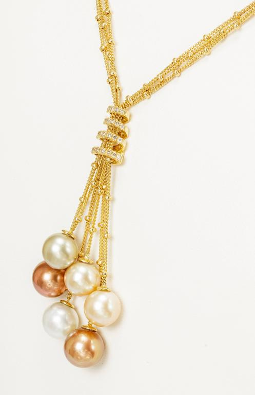 Round Cut Yvel Multicolored South Sea Pearl Necklace 3 Strand 18K Yellow Gold and Diamonds For Sale