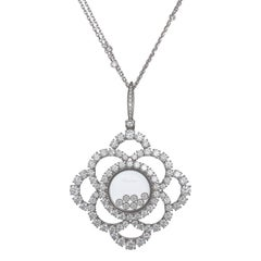 Chopard Happy Diamonds 18k White Gold and Diamond Pendant & Chain 7.42 ct.