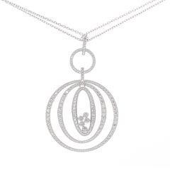 Chopard 18 Karat White Gold Happy Diamonds Circle Pendant and Double Chain