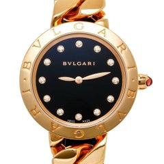 Bulgari Catene Watch 18 Karat Pink Gold Diamond Markers Black Dial Quartz 102036