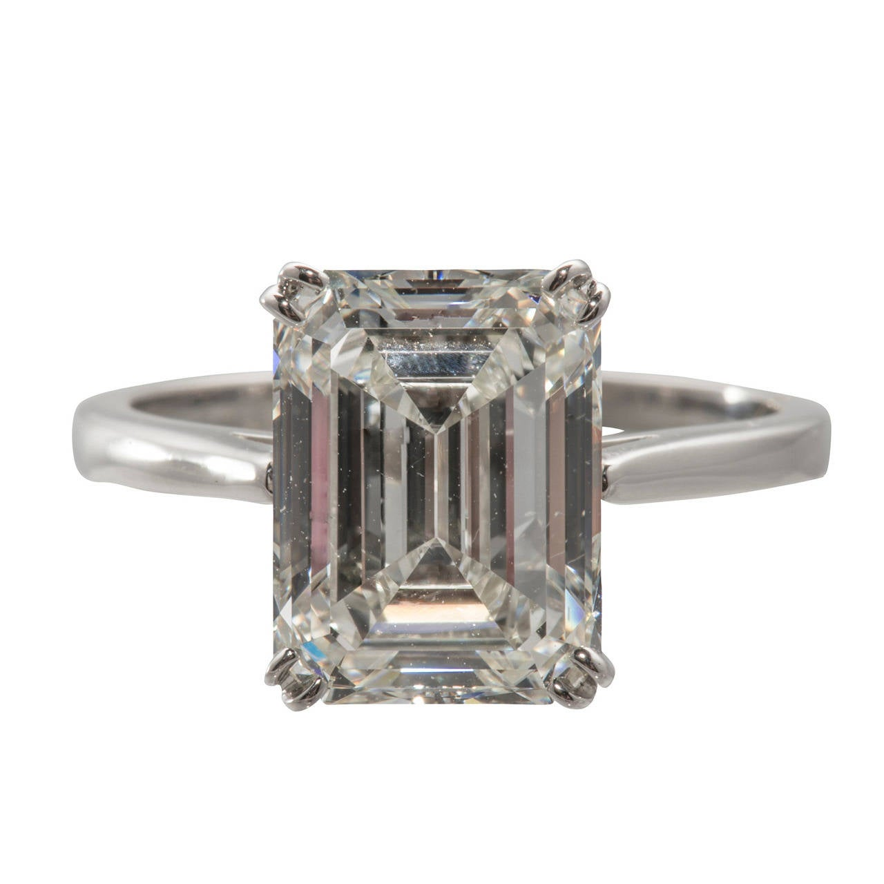 GIA Cert 4 12 Carat Emerald Cut Diamond Engagement Ring For Sale at 1stdibs